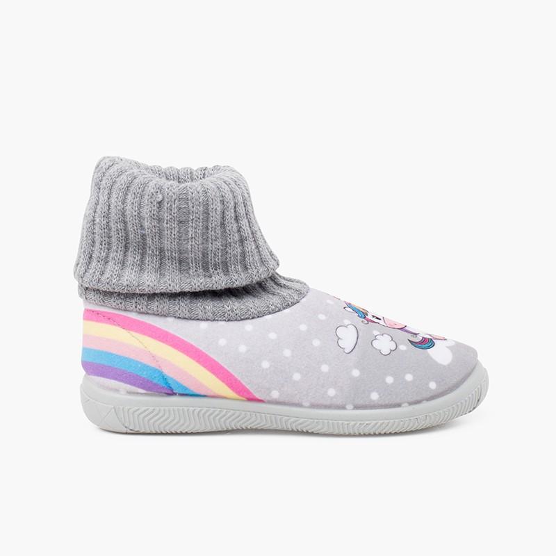 Pantofole con collo a calzino in lana di unicorno