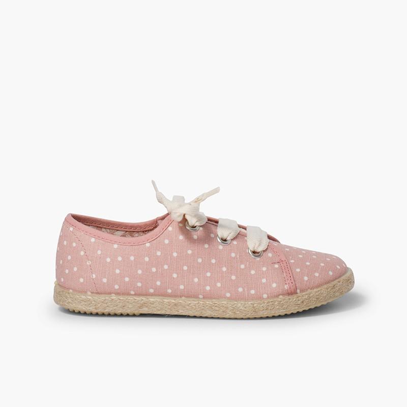 Sneakers tela a pois bambina