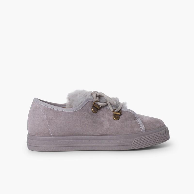 Sneakers da bambina con suola larga e pelliccia