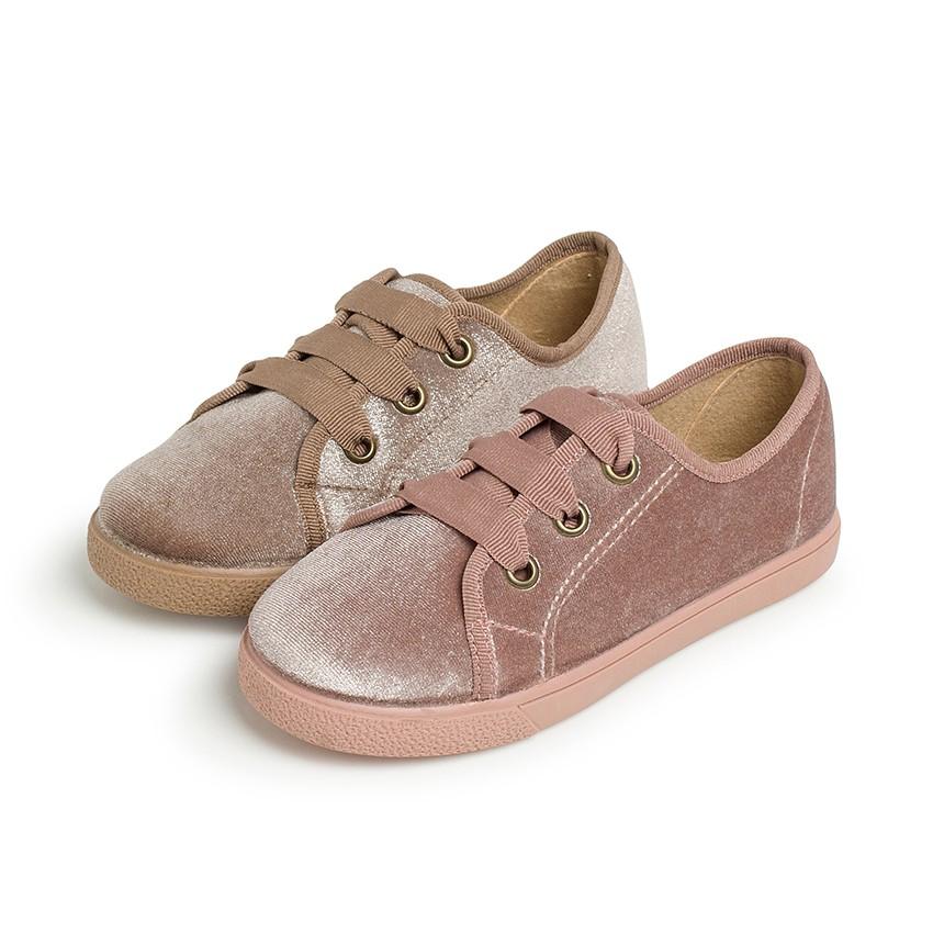 Sneakers bambina velluto brillante