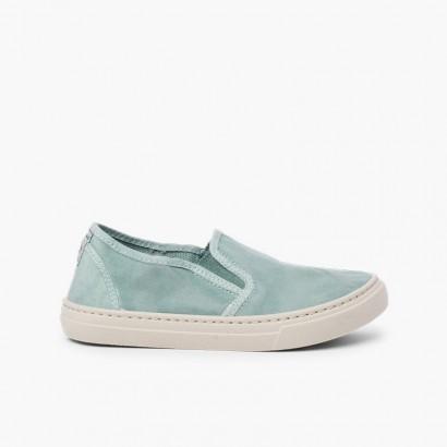 Sneakers tela slavata elastico laterale Taupe