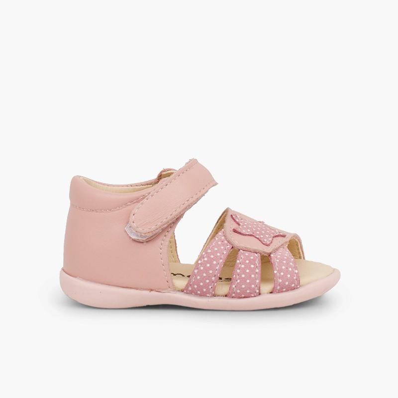 Sandali pelle primi passi bambina velcro e stella