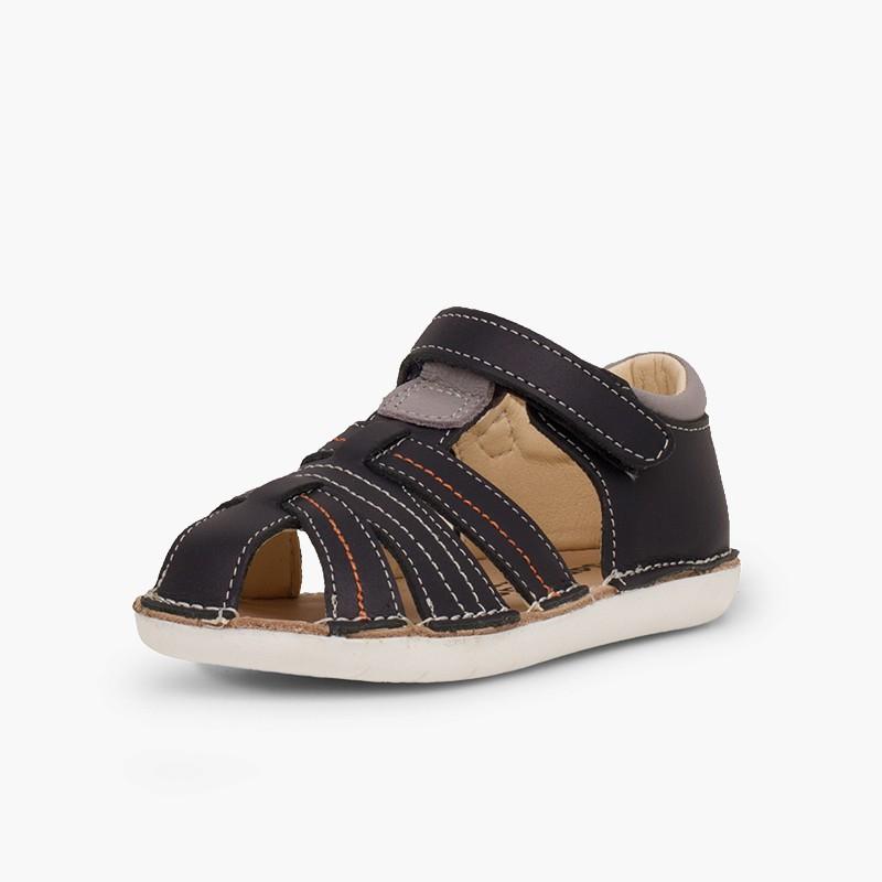Sandali pelle bambino con velcro ragnetti