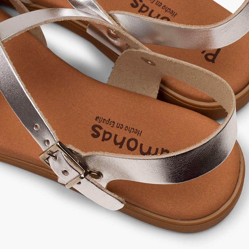 Sandali alla schiava bambina e donna stringhe metallizzate