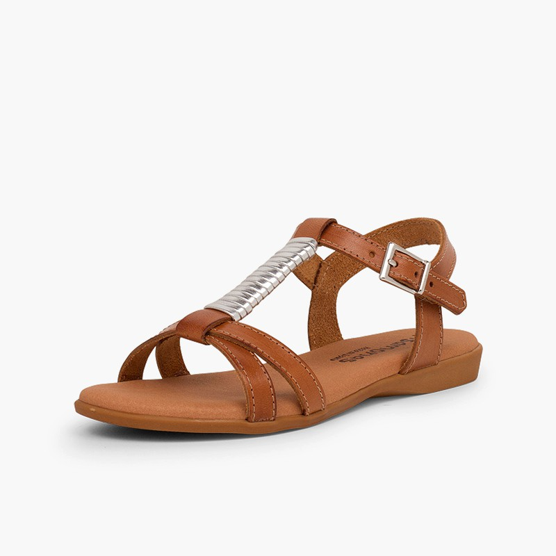 Sandali soletta imbottita e decorazione argentata